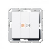 Клавишный выключатель. Переключатель 3-клавишный, белый глянец 283203