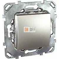 Выключатель одноклавишный, универс. (вкл/выкл с 2-х мест) 10 А / 250 В~ Schneider Unica алюминий MGU5.203.30ZD