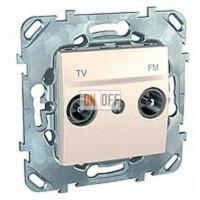 Розетка телевизионная проходная TV FM, диапазон частот от 4 до 2400 MГц Schneider Unica кремовый MGU5.453.25ZD
