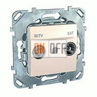 Розетка телевизионная оконечная TV SAT FM, диапазон частот от 4 до 2400 MГц Schneider Unica кремовый MGU5.455.25ZD